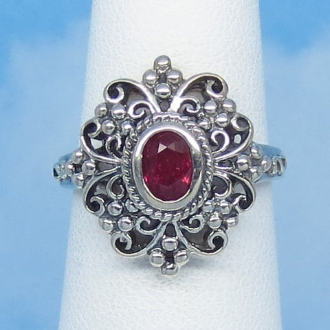 Tight Size 6 - 0.42ct Natural Ruby Victorian Filigree Ring - Sterling Silver - Frilly - Reproduction - Genuine Ruby - Oval - r172549