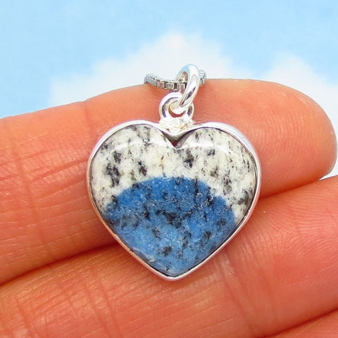 Dainty Rare K2 Azurite in White Granite Heart Pendant Necklace - 925 Sterling Silver - Genuine - Natural - Small - h280833