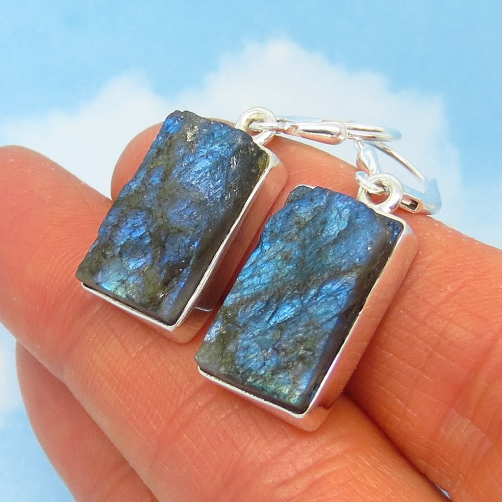 Labradorite Rough Earrings - 925 Sterling Silver - Leverback Dangle - Rectangle - Raw Genuine Natural - 281960