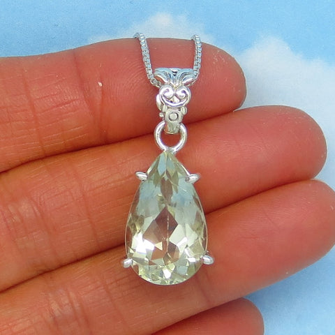 11.4ct Natural Green Amethyst Necklace Sterling Silver Large Pear Teardrop Pendant Minimalist Genuine Prasiolite February Birthstone j161153