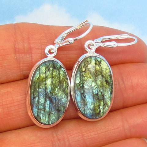 Labradorite Rough Earrings - 925 Sterling Silver - Leverback Dangle - Oval - Raw Genuine Natural - 281961