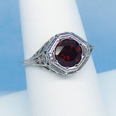 Size 7-3/4 - 1.6ct Natural Garnet Victorian Filigree Ring - Sterling Silver - 7mm Round Genuine Garnet - 152596
