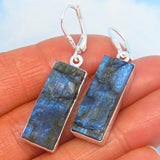 Labradorite Rough Earrings - 925 Sterling Silver - Leverback Dangle - Long Rectangle Bar - Raw Genuine Natural - 281963