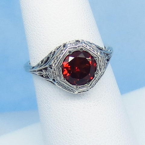 Size 6 - 1.6ct Natural Garnet Victorian Filigree Ring - Sterling Silver - 7mm Round Genuine Garnet - 152596