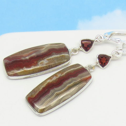Laguna Lace Agate Earrings - Garnet Accent - 925 Sterling Silver Leverback Dangle - Rectangle Cushion - Genuine Natural -281710