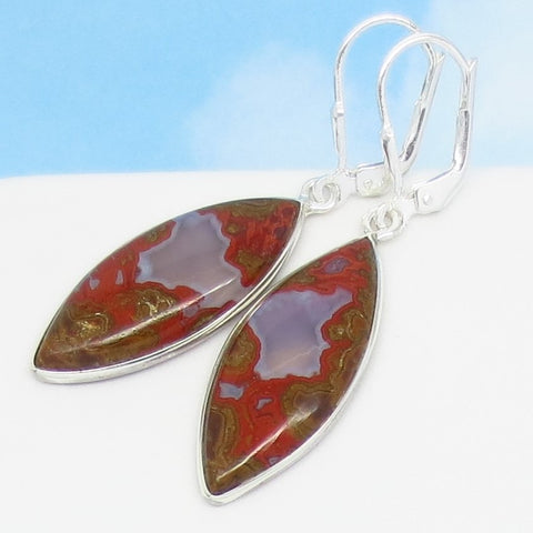 Natural Red Agate Earrings 925 Sterling Silver Leverback Dangle - Marquise - Druzy Quartz - Red Jasper - 281711