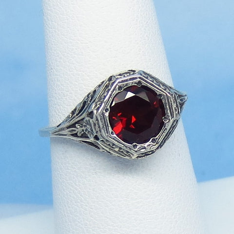 Size 6-3/4 - 1.6ct Natural Garnet Victorian Filigree Ring - Sterling Silver - 7mm Round Genuine Garnet - 152596