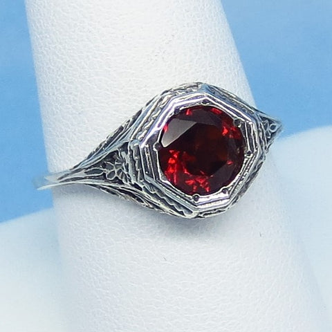 Size 9 - 1.6ct Natural Garnet Victorian Filigree Ring - Sterling Silver - 7mm Round Genuine Garnet - 152596