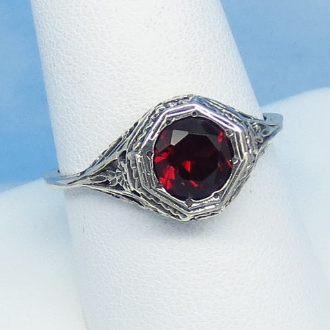 Size 9-3/4 - 1.6ct Natural Garnet Victorian Filigree Ring - Sterling Silver - 7mm Round Genuine Garnet - 152596
