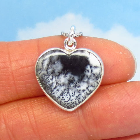 Small Merlinite Dendrite Opal Heart Necklace - Sterling Silver - Dendrite Agate - Dendritic Opal - Dendritic Agate - Genuine Natural 281153