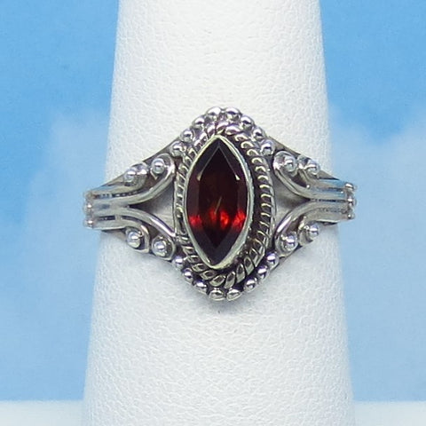 Size 6 - 0.6ct Natural Garnet Ring - Sterling Silver - Genuine Garnet - Marquise - Filigree Bali Boho Victorian Design - 141106