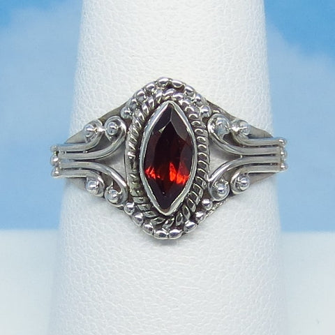 Size 8-1/4 - 0.6ct Natural Garnet Ring - Sterling Silver - Genuine Garnet - Marquise - Filigree Bali Boho Victorian Design - 141108