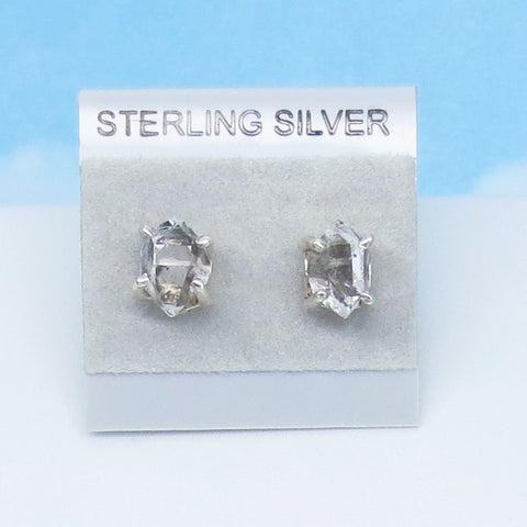 Herkimer Diamond Earrings - Studs - Posts - 925 Sterling Silver - Natural Rock Crystal - Clear Quartz Point - Tiny - Genuine Natural 181233