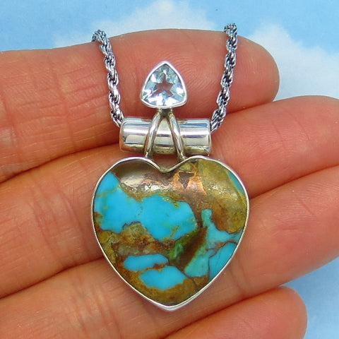 Nevada Turquoise Heart Pendant Necklace - Pilot Mountain Montezuma Mine - Sterling Silver - Genuine Natural - Blue Topaz Accent - a152119