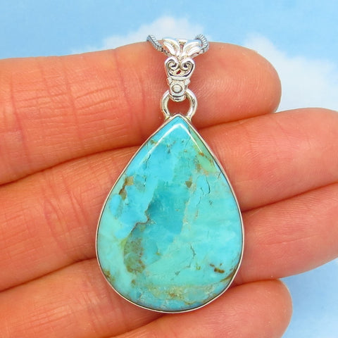 "1-3/4"" Natural Arizona Turquoise Pendant Necklace - Sterling Silver - Genuine USA Mojave Turquoise - Pear Shape - p171101-281808"