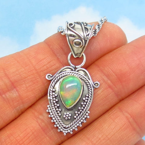 Ethiopian Opal Pendant Necklace - 925 Sterling Silver - Genuine Natural Welo Opal - Pear Shape - Boho Bali Design - Teardrop