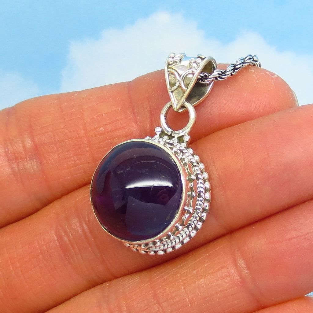 Natural Dark Amethyst Pendant Necklace - 925 Sterling Silver - Genuine - 15mm Round Cabochon - Boho Bali Design - Purple Amethyst