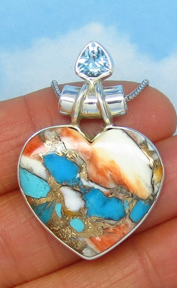 24 x 26mm Mojave Blue Turquoise & Spiny Oyster Heart Pendant Necklace - Sterling Silver - Genuine Natural - USA - Blue Topaz Accent a171768