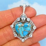 Natural Mojave Blue Copper Turquoise Heart Pendant Necklace - 925 Sterling Silver - Genuine Arizona Turquoise - Filigree - 171908-av21