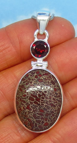 Red Dinosaur Bone Fossil & Garnet Pendant Necklace - Sterling Silver - Genuine Natural Agatized Fossil and Garnet - Artisan - Oval - sa161575