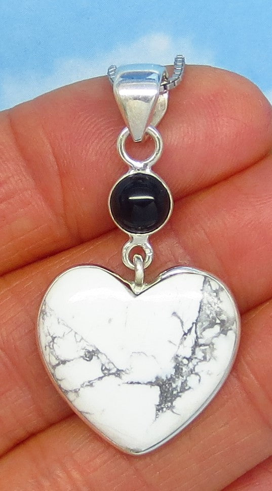 Howlite White Turquoise Heart Pendant Necklace - Sterling Silver - Black Onyx Accent - White Buffalo - Genuine Natural - jy180988