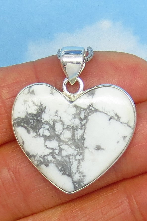 24 x 27mm Howlite White Turquoise Heart Pendant Necklace - Sterling Silver - White Buffalo - Genuine Natural - Large Heart Pendant - jy181103