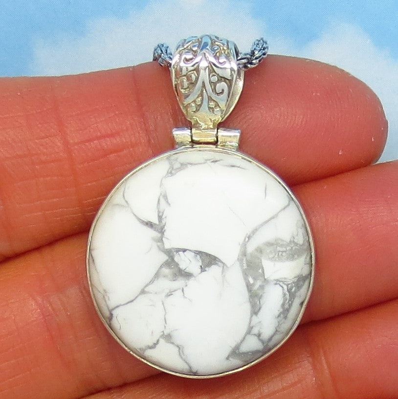 Howlite White Turquoise Pendant Necklace - Sterling Silver - Artisan - Large Round - White Buffalo - Natural Genuine - Filigree Bail - jy170569