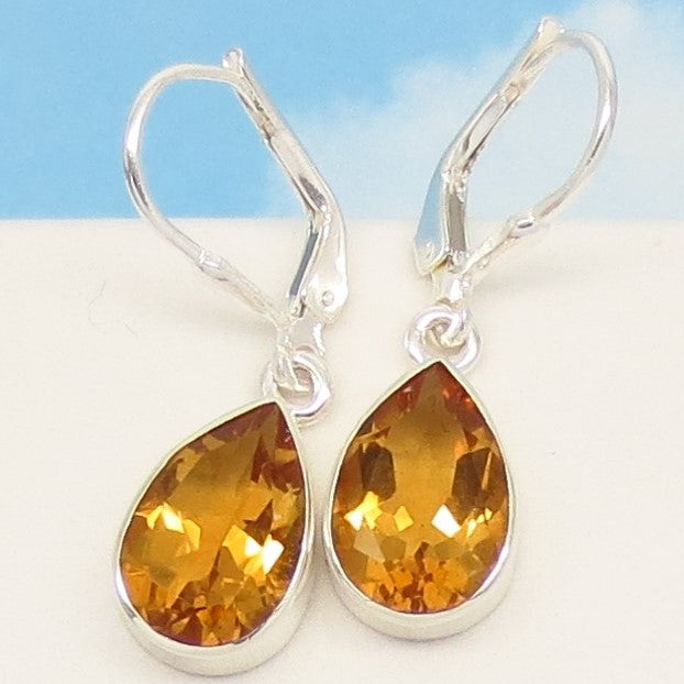 5.03ctw Natural Golden Citrine Earrings - 12 x 8mm Pear Shape - 925 Sterling Silver Leverback Dangle - Genuine - 1722808