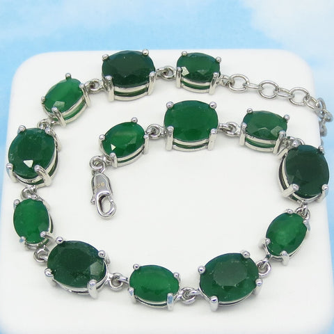 "33.7ctw Natural Emerald Bracelet - 925 Sterling Silver - Rhodium Plated - Genuine Raw Emerald - 8"" to 9-1/2"" Tennis Line Bracelet - d161603"