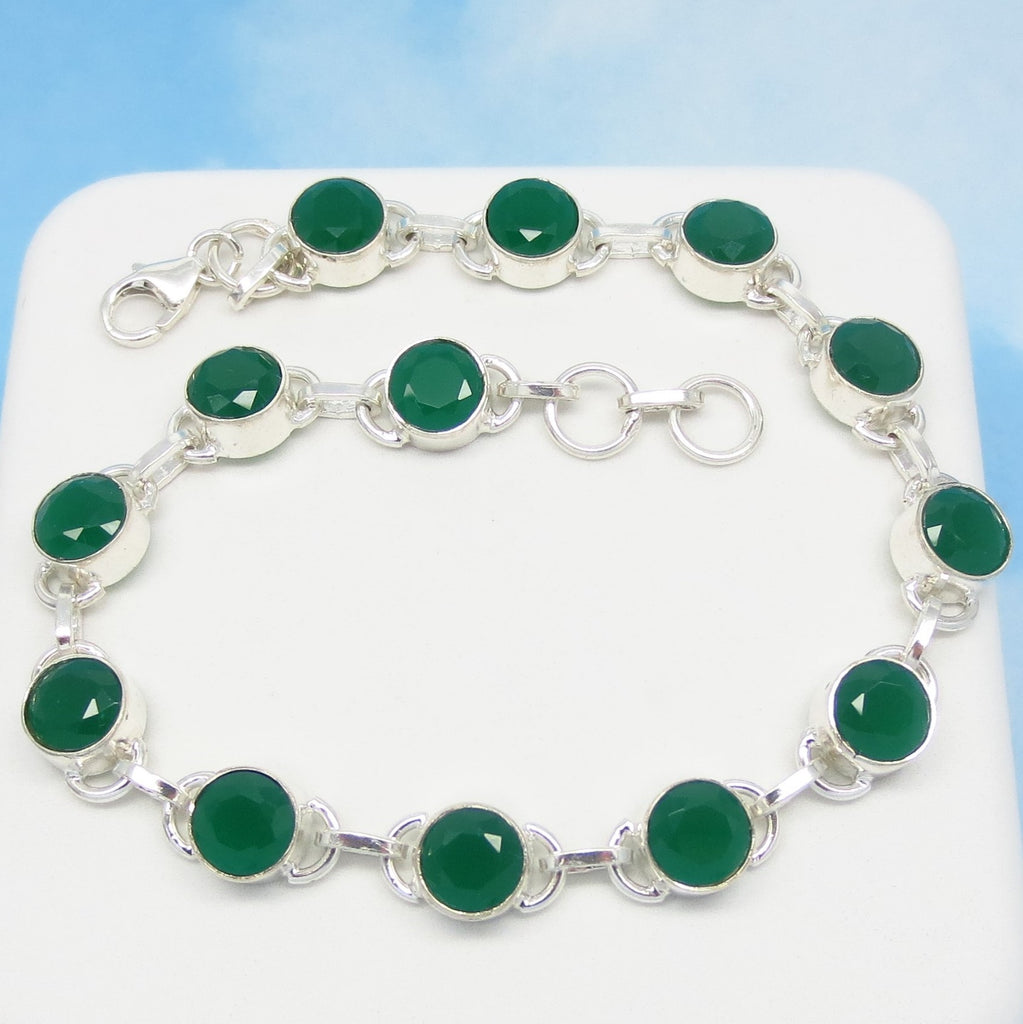 "10.3ctw Natural Emerald Bracelet 925 Sterling Silver Tennis Line Bracelet - 6mm Round Genuine Heated India Emerald - 7-3/4"" to 8"" - 171836"