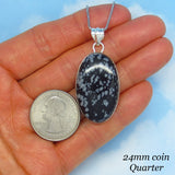"1 3/4"" Natural Snowflake Obsidian Necklace - Sterling Silver - Large Oval Pendant - Simple - Minimalist - p171477"