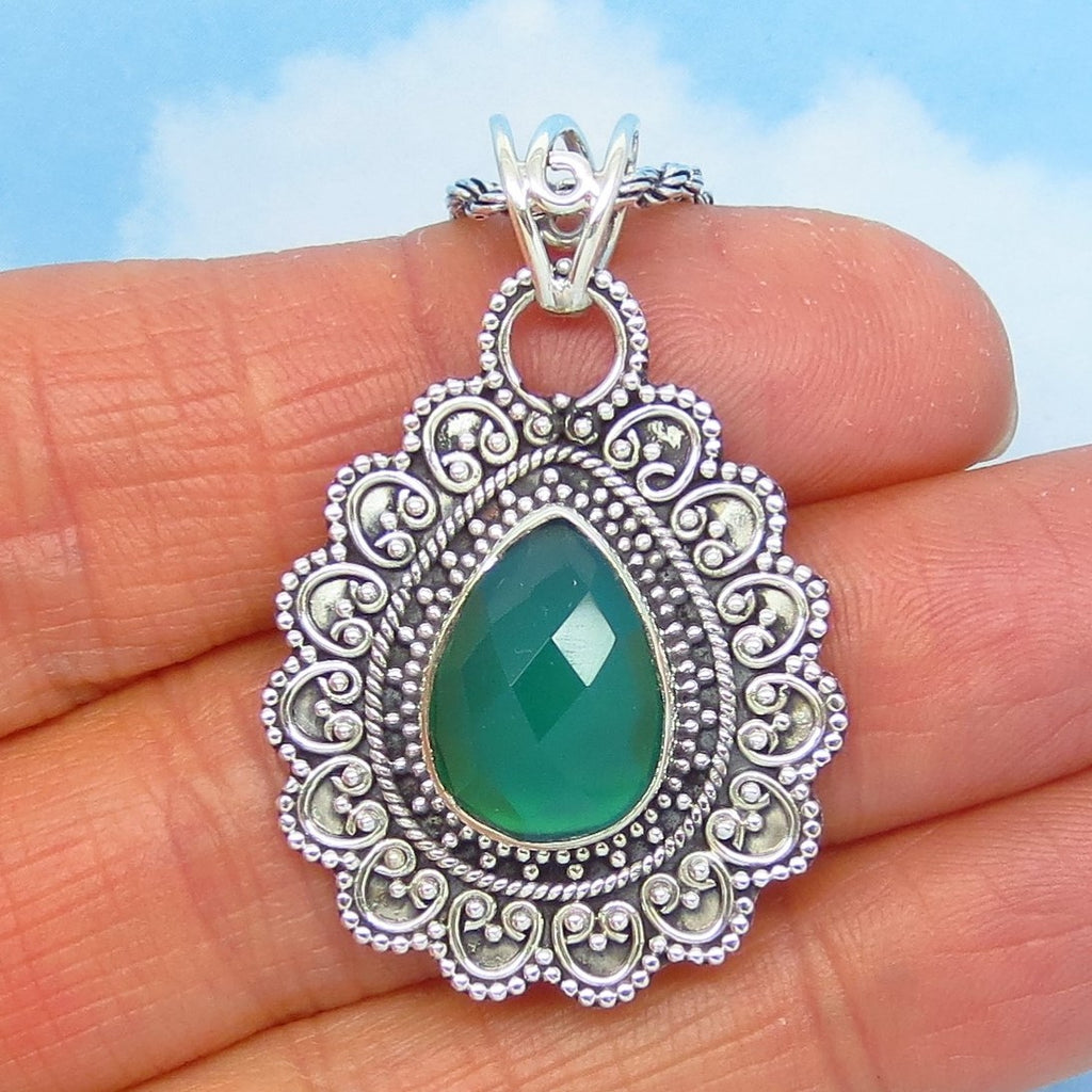 "1-1/2"" Natural Green Chalcedony Pendant Necklace - 925 Sterling Silver - Emerald Green - Pear Shape - Victorian Filigree Boho Bali Design - 171102g"