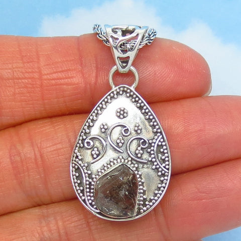 Herkimer Diamond Quartz Pendant Necklace - 925 Sterling Silver - Genuine New York - Pear Shape Victorian Filigree Boho Bali Artisan Design av241601