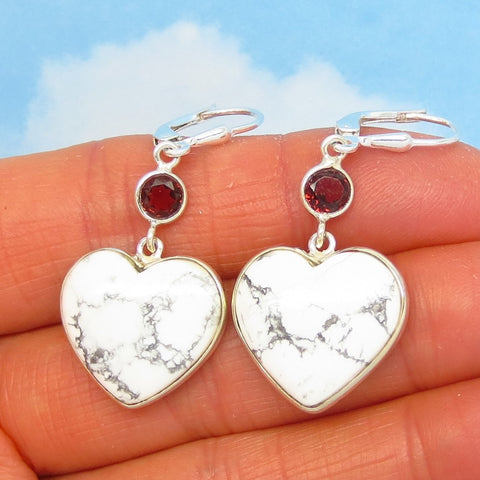 "1-3/4"" Howlite White Turquoise Heart Earrings - Leverback Dangle - 925 Sterling Silver - Natural Genuine White Buffalo & Garnet - 242003"