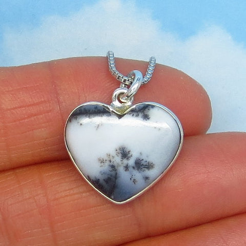 Small Merlinite Dendrite Opal Heart Pendant Necklace - Sterling Silver - Handmade - h160779