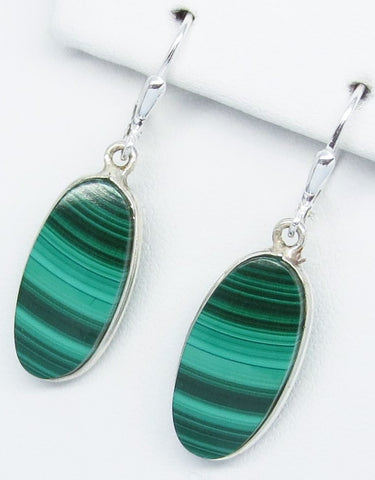 "1-9/16"" Natural Malachite Earrings - Leverback Dangle - 925 Sterling Silver - 21 x 10mm Oval - Genuine - 251653"
