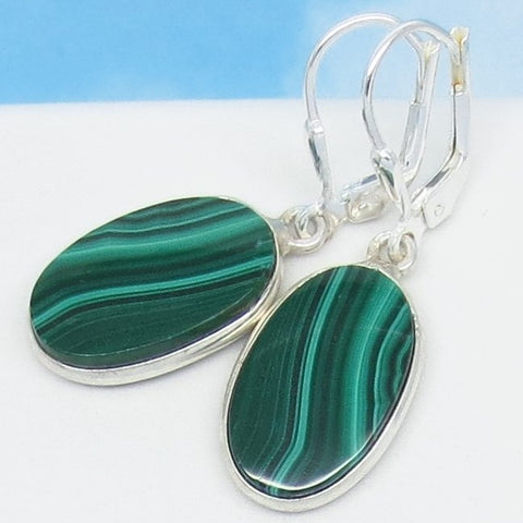 "1-3/8"" Natural Malachite Earrings - Leverback Dangle - 925 Sterling Silver - 18 x 10mm Oval - Genuine - 251652"