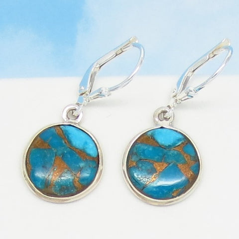Small Natural Arizona Mojave Blue Copper Turquoise Earrings - Leverback Dangle - 925 Sterling Silver - 14mm Round Discs - 171406