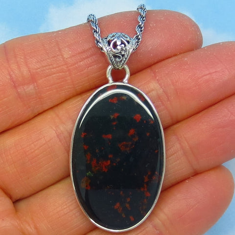 Natural Bloodstone Necklace - Sterling Silver - Large Oval Pendant - Black with Red Flecks - Jasper Heliotrope - Genuine - jy181403