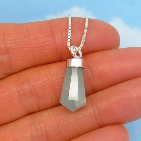 7.0ct Rustic Tiny Natural Aquamarine Pendant Necklace - 925 Sterling Silver - Genuine Raw Milky Crystal Point Wand Small - aq250501