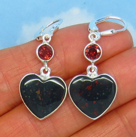 Natural Bloodstone & Garnet Heart Earrings - Sterling Silver - Leverback - Dangle - Genuine - Heliotrope - Jasper Chalcedony Quartz - 171708