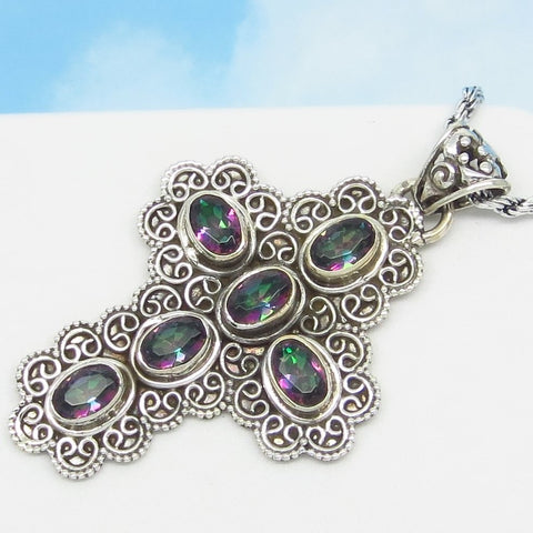 "2"" Rainbow Mystic Topaz Cross Pendant Necklace - Sterling Silver - Victorian Filigree Design - Rope Chain - Large ish - JY172518"