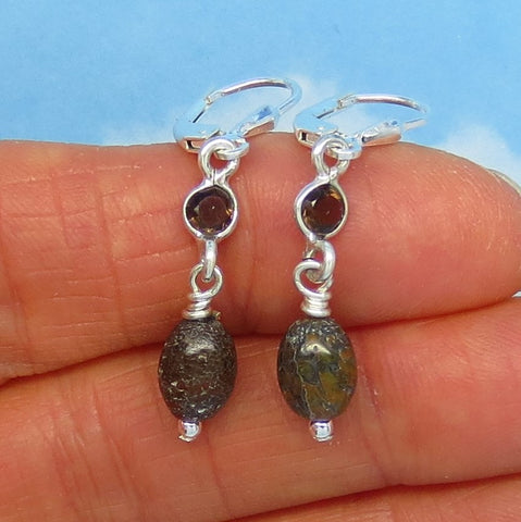 Small Agatized Dinosaur Bone Fossil & Smoky Quartz Earrings - Sterling Silver - Leverback - Dangle - Genuine - Natural - Dainty