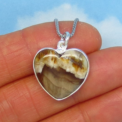 Petrified Wood Heart Necklace - Sterling Silver - Pine Tree Fossil from the Jurassic - Woodland - Pendant - su181103