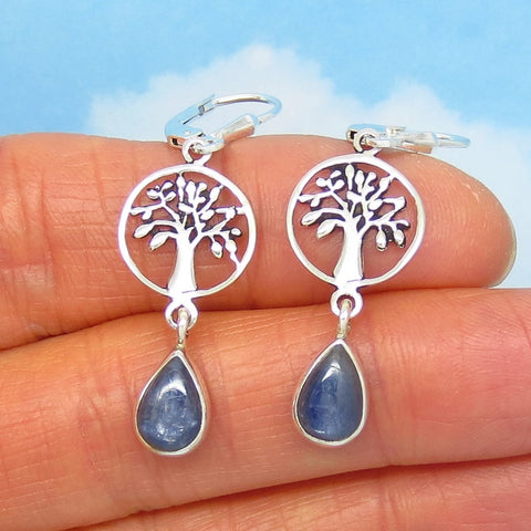 Dainty Natural Blue Kyanite Tree of Life Earrings - Leverback Dangle - 925 Sterling Silver - 9 x 6mm Pear Shape - Genuine - Celtic - 161406