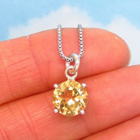 AAA 2.14ct Natural Citrine Pendant Necklace -925 Sterling Silver - 9mm Round Cut - 200806