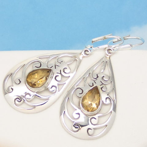 2.4ctw Natural Citrine Earrings - Leverback Dangle - 925 Sterling Silver - Jali Filigree - Pear Shape - November Birthstone - sa151653