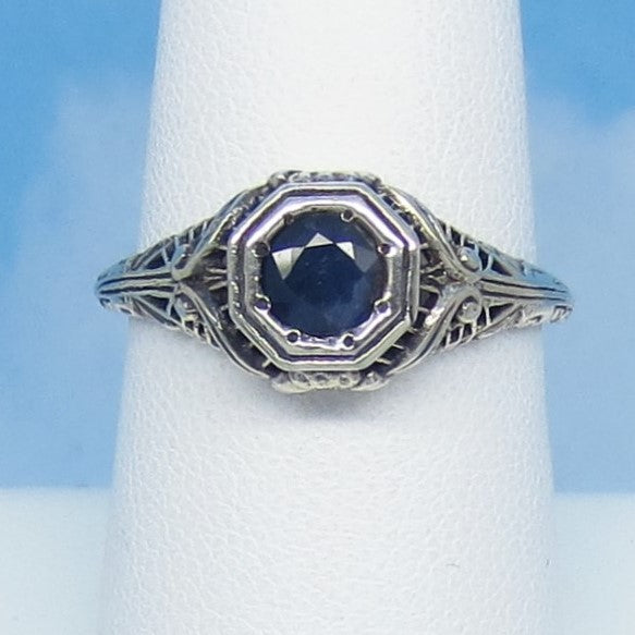 Size 7-3/4 .60ct Genuine Natural Sapphire Ring - Sterling Silver - Victorian Filigree Reproduction Gothic Ring - Raw - Tiny Dainty 0015-08