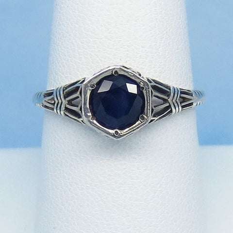 Size 6-1/2 1.05ct Genuine Natural Sapphire Ring - Sterling Silver - Victorian Filigree Reproduction Gothic Ring - Raw - Tiny Dainty 0015-01