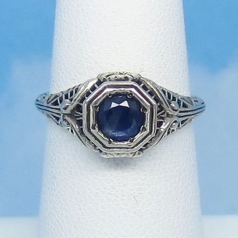 Dainty Size 5-1/2+ .60ct Genuine Natural Sapphire Ring - Sterling Silver - Victorian Filigree Reproduction Gothic Ring - Raw - Tiny 0015-06